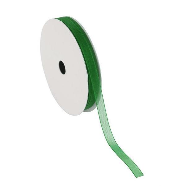 Ruban Organza Vert, bordure brodée, largeur 6 mm, longueur 30 m, rouleau décoratif - Photo n°1