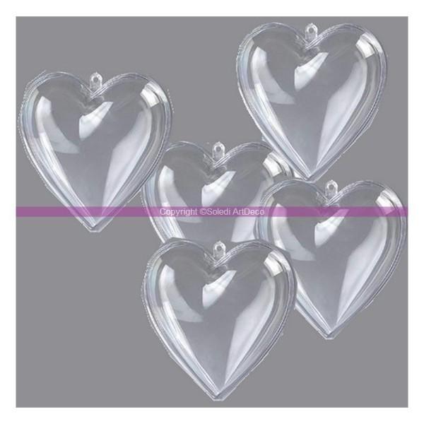 Lot de 5 Coeurs en plastique cristal transparent séparable, 8 cm, Contenant sécable - Photo n°1
