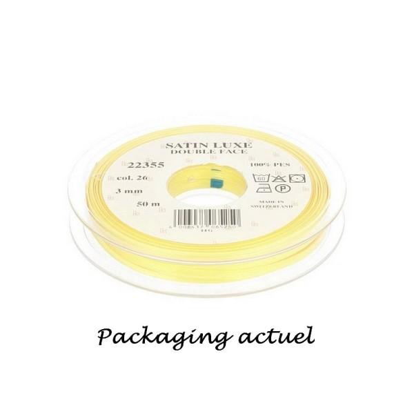 Ruban double en satin Citron, largeur 3 mm, longueur 39 m, 100% Polyester - Photo n°2