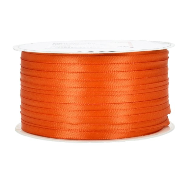 Ruban double en satin Orange, largeur 3 mm, longueur 40 m, 100% Polyester - Photo n°1