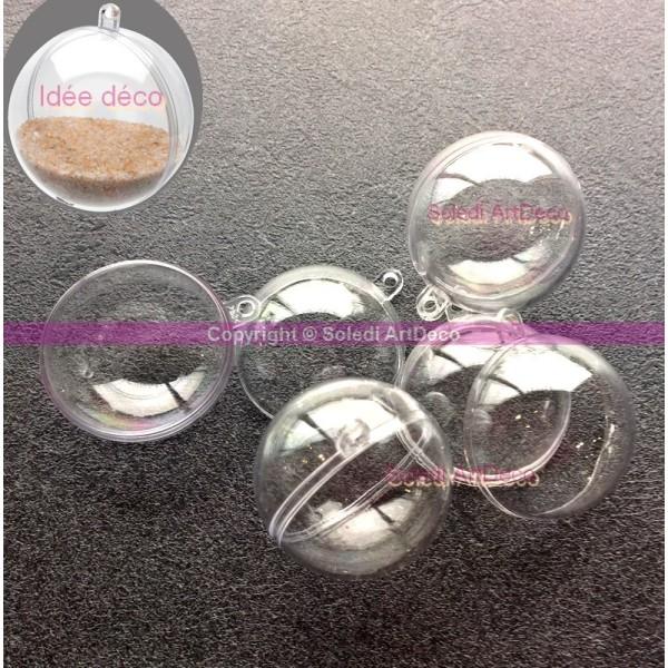 Gros lot de 100 petites Boules diam 4 cm en plastique transparent séparable, Contenant cristal alime - Photo n°2