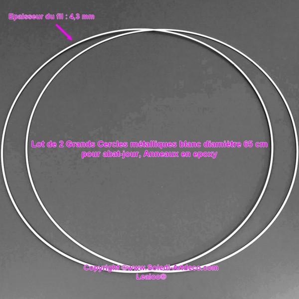 Lot de 2 Grands Cercles métalliques blanc diam. 70 cm pour abat-jour, Anneaux epoxy Attrape rêves - Photo n°2