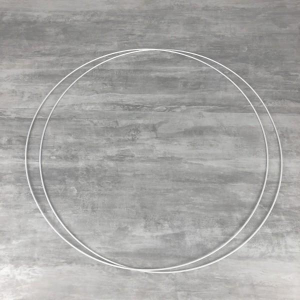 Lot de 2 Grands Cercles métalliques blanc diam. 70 cm pour abat-jour, Anneaux epoxy Attrape rêves - Photo n°1