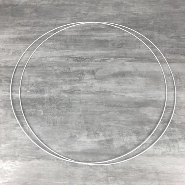 Lot de 2 Grands Cercles métalliques blanc diam. 80 cm pour abat-jour, Anneaux epoxy Attrape rêves - Photo n°1