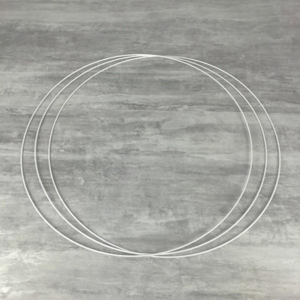 Gros lot de 3 Grands Cercles métalliques blanc Ø 70 cm pour abat-jour, Anneaux epoxy Attrape rêves - Photo n°1