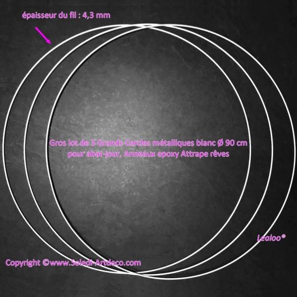 Gros lot de 3 Grands Cercles métalliques blanc diam. 90 cm pour abat-jour, Anneaux epoxy Attrape rêv - Photo n°2