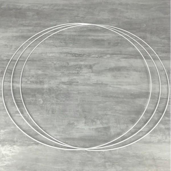 Gros lot de 3 Grands Cercles métalliques blanc diam. 90 cm pour abat-jour, Anneaux epoxy Attrape rêv - Photo n°1