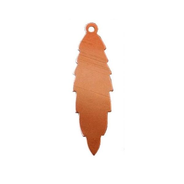 Lot de 10 Pendentifs en cuivre Feuille 1 trou, ébauche 47x13 mm x0.8mm pour émaillage - Photo n°1