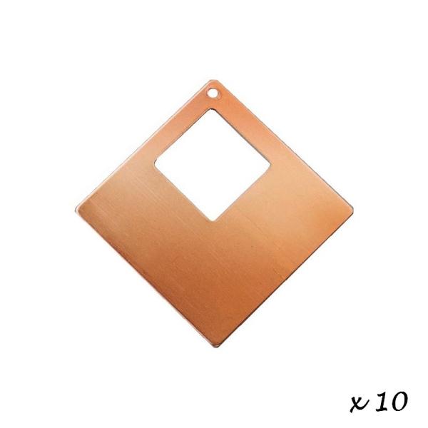 Lot de 10 Pendentifs en cuivre Carré, 1 trou, ébauche 4 x 4 cm pour émaillage - Photo n°3