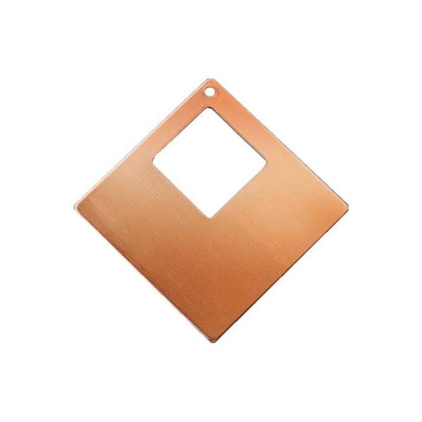 Lot de 10 Pendentifs en cuivre Carré, 1 trou, ébauche 4 x 4 cm pour émaillage - Photo n°1