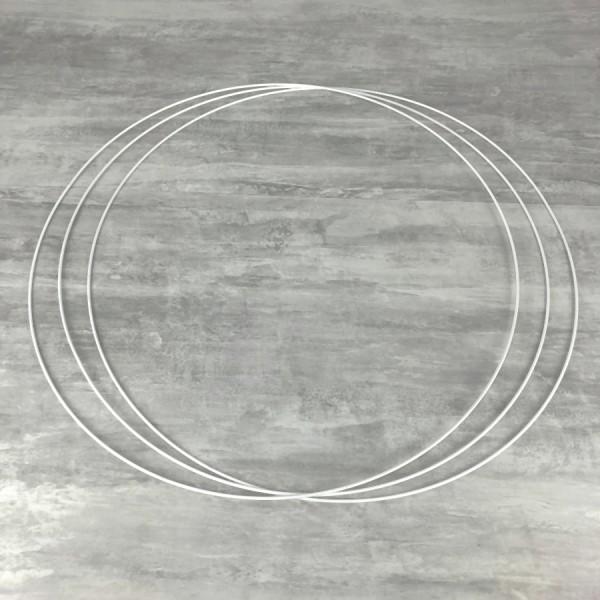 Gros lot de 3 Grands Cercles métalliques blanc diam. 80 cm pour abat-jour, Anneaux epoxy Attrape rêv - Photo n°1