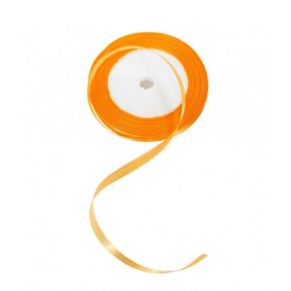 Ruban en Satin simple face, Orange, largeur 8 mm, longueur 19 m, tissu décoratif - Photo n°1