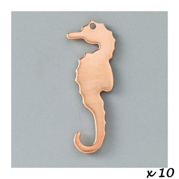 Lot de 10 Pendentifs en cuivre Hippocampe, 1 trou, 39 x 12 mm, pour émaillage - Photo n°2