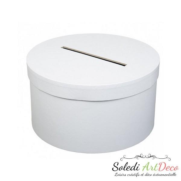 Urne de Mariage ronde en carton Blanc, diam. 25 x haut. 14 cm, pour anniversaire ou mariage - Photo n°2