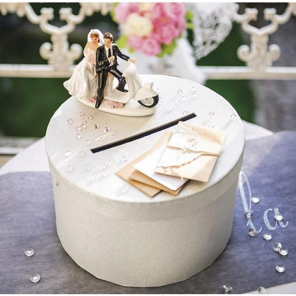 Urne de Mariage ronde en carton Blanc, diam. 25 x haut. 14 cm, pour anniversaire ou mariage - Photo n°3
