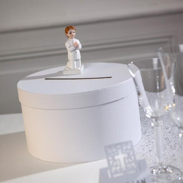 Urne de Mariage ronde en carton Blanc, diam. 25 x haut. 14 cm, pour anniversaire ou mariage - Photo n°4