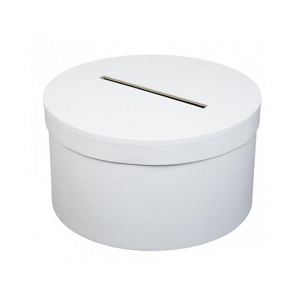 Urne de Mariage ronde en carton Blanc, diam. 25 x haut. 14 cm, pour anniversaire ou mariage - Photo n°1