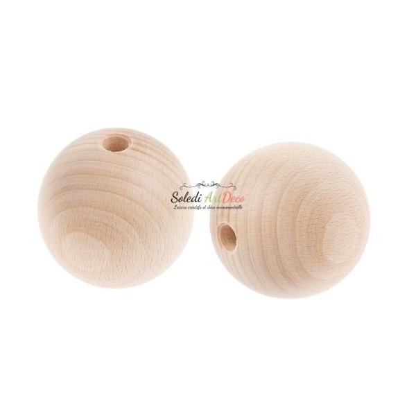 Lot de 2 grandes Boules percées, Diamètre 7 cm, en bois de hêtre, perçage 10 mm - Photo n°1