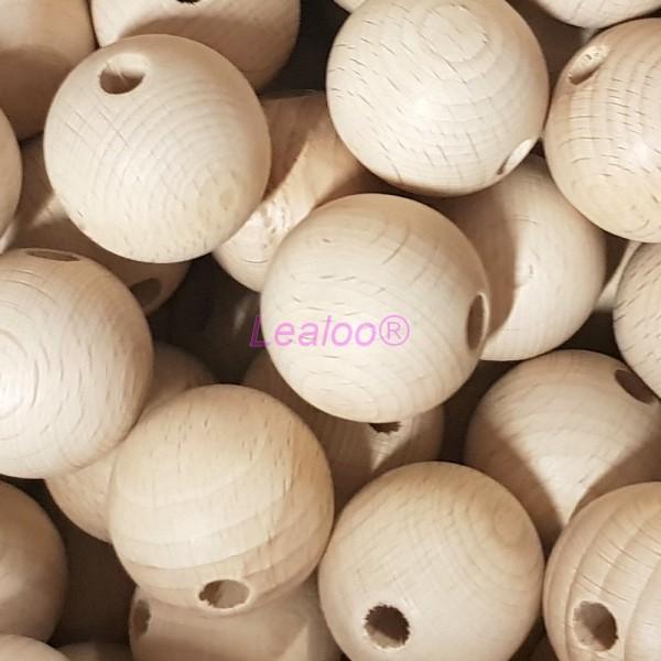 Lot de 5 Boules percées en bois de hêtre, diamètre 60 mm, perçage 10 mm - Photo n°2
