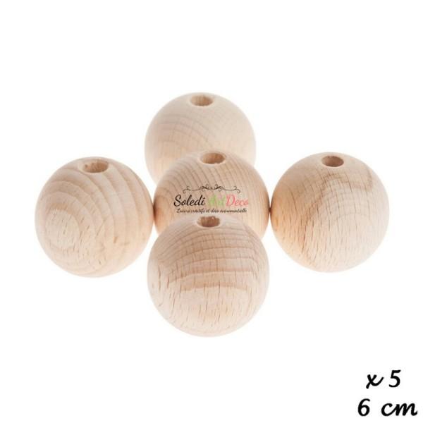 Lot de 5 Boules percées en bois de hêtre, diamètre 60 mm, perçage 10 mm - Photo n°3