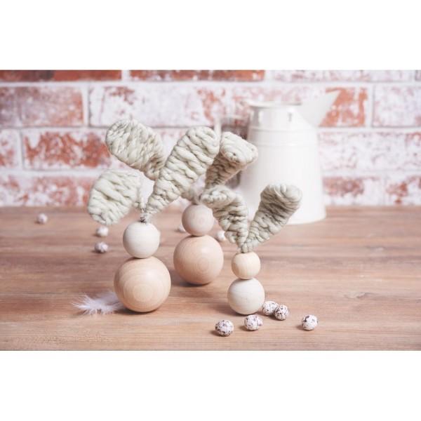 Lot de 5 Boules percées en bois de hêtre, diamètre 60 mm, perçage 10 mm - Photo n°4