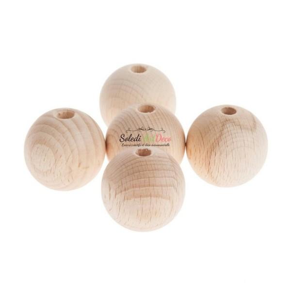 Lot de 5 Boules percées en bois de hêtre, diamètre 60 mm, perçage 10 mm - Photo n°1