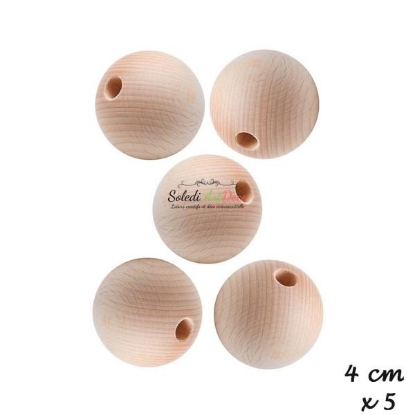 Lot de 5 Boules 40 mm demi-percées en bois de hêtre, perçage 8mm - Photo n°2