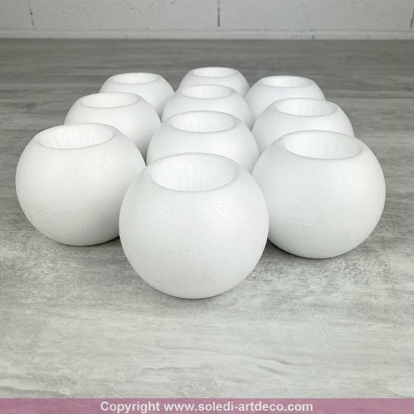 Lot de 10 Bougeoirs en polystyrène, Boules de Noël diamètre 8 cm en Styro blanc - Photo n°2
