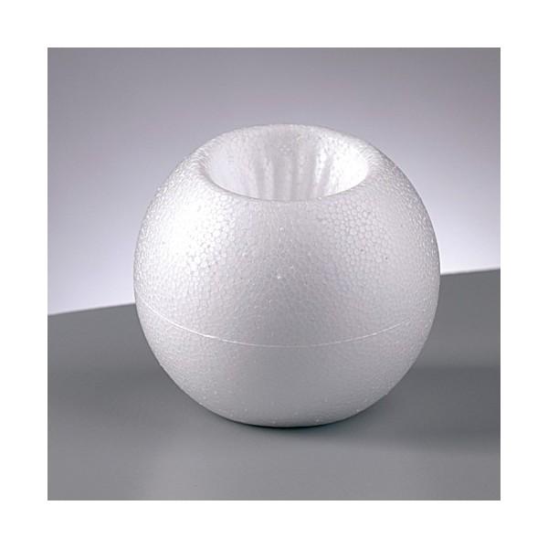 Lot de 10 Bougeoirs en polystyrène, Boules de Noël diamètre 8 cm en Styro blanc - Photo n°1