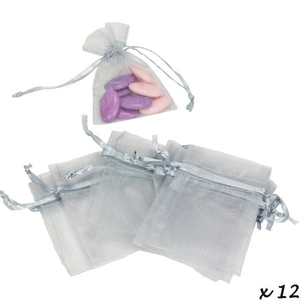 Lot de 12 sachets en Organdi Argenté, Pochons en organza pour dragées, 7,5 cm x 10 cm - Photo n°2