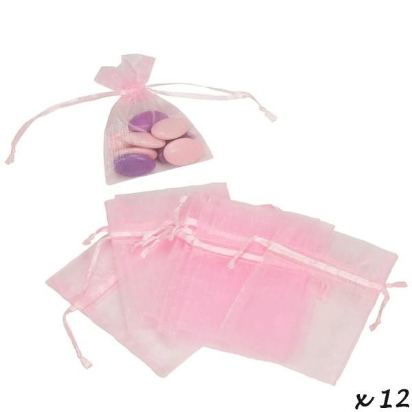 Lot de 12 sachets en Organdi rose, Pochons en organza pour dragées, 7,5 cm x 10 cm - Photo n°2