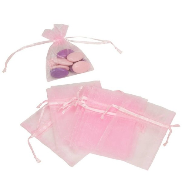 Lot de 12 sachets en Organdi rose, Pochons en organza pour dragées, 7,5 cm x 10 cm - Photo n°1