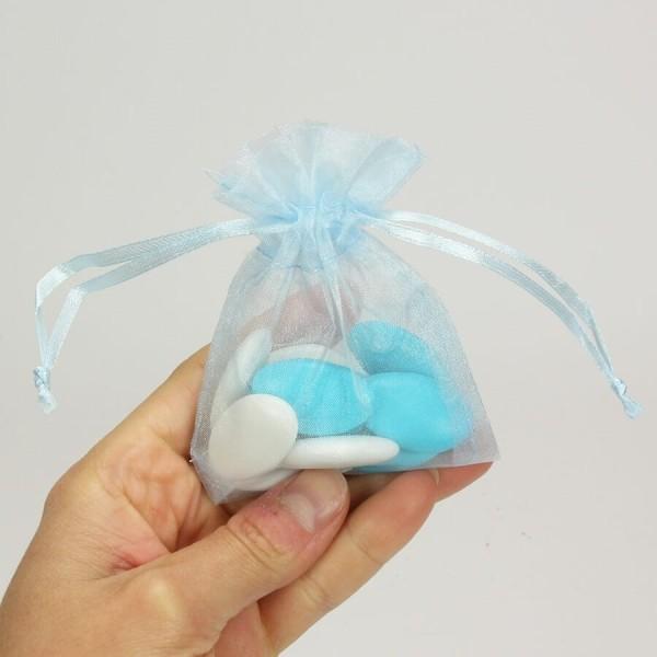 Lot de 12 sachets en Organdi bleu clair, Pochons en organza pour dragées, 7,5 cm x 10 cm - Photo n°3