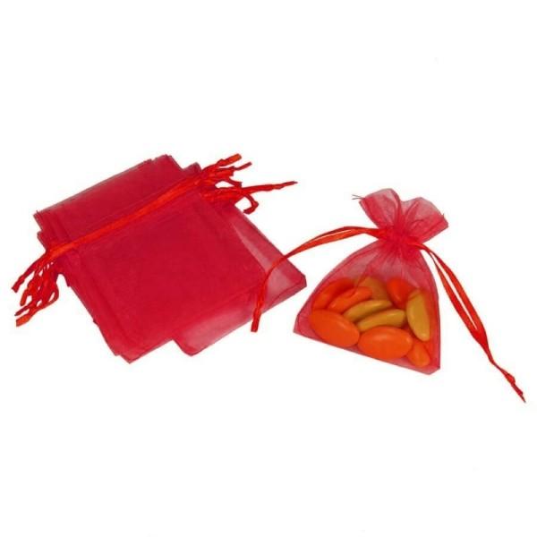 Lot de 12 sachets en Organdi Rouge, Pochons en organza pour dragées, 7,5 cm x 10 cm - Photo n°1