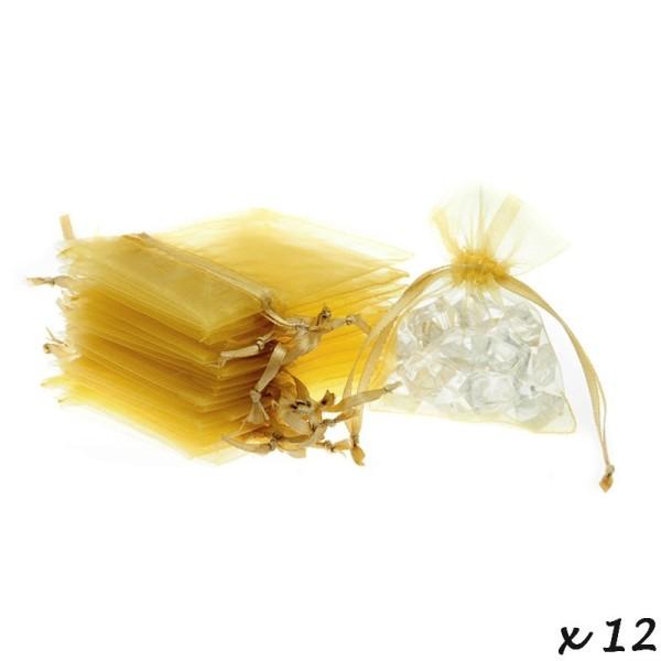 Lot de 12 sachets en Organdi Doré, Pochons en organza pour dragées, 7,5 cm x 10 cm - Photo n°2