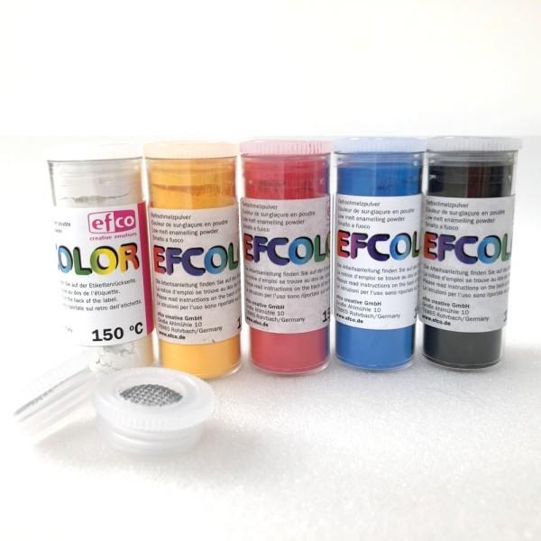 Set 5 couleurs Poudre Efcolor 10 ml, nuancier primaire, 2 tamis, pour émaillage à froid, cuisson à 1 - Photo n°1