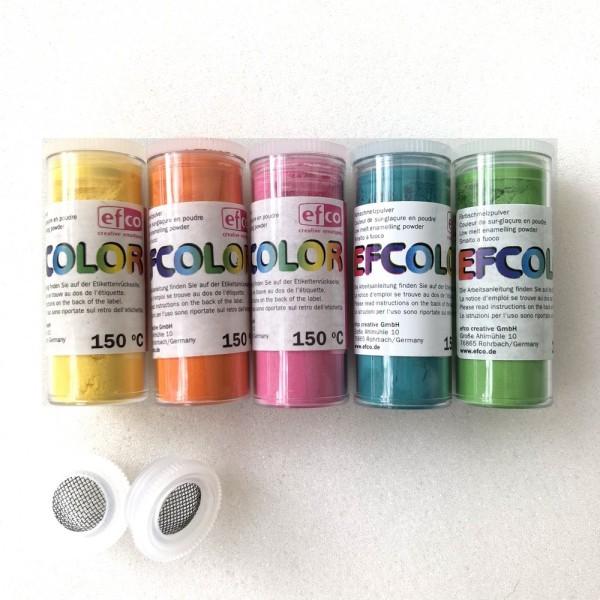 Set 5 couleurs Poudre Efcolor 10 ml, nuancier estivale, 2 tamis, pour émaillage à froid, cuisson à 1 - Photo n°3