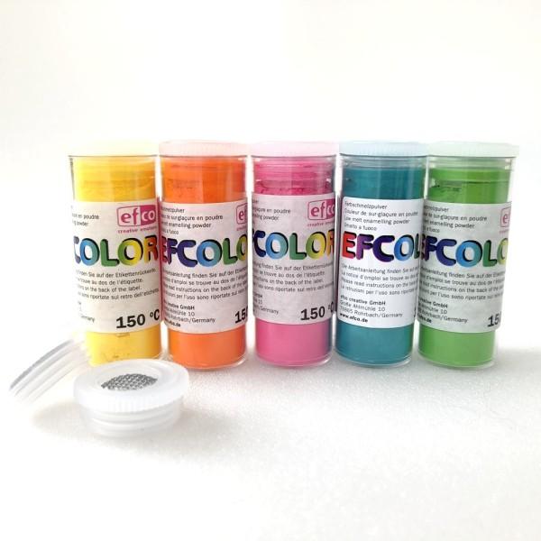 Set 5 couleurs Poudre Efcolor 10 ml, nuancier estivale, 2 tamis, pour émaillage à froid, cuisson à 1 - Photo n°1