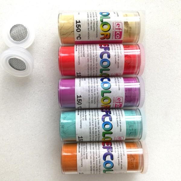 Set 5 couleurs Poudre Efcolor 10 ml, nuancier doux, 2 tamis, pour émaillage à froid, cuisson à 150°C - Photo n°2