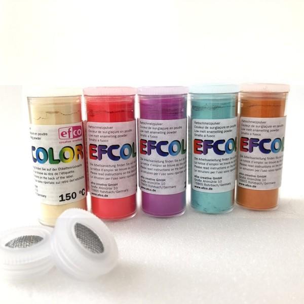 Set 5 couleurs Poudre Efcolor 10 ml, nuancier doux, 2 tamis, pour émaillage à froid, cuisson à 150°C - Photo n°1