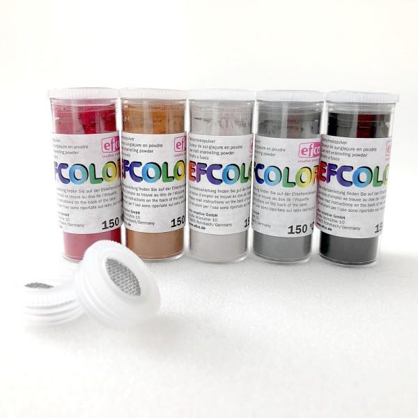 Set 5 couleurs Poudre Efcolor 10 ml, nuancier foncé, 2 tamis, pour émaillage à froid, cuisson à 150° - Photo n°1