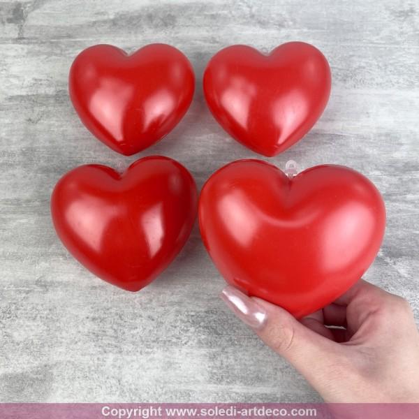 Lot de 4 Coeurs Rouge en plastique non séparables, 9,5 x 8 cm, avec accroches à suspendre, Déco roma - Photo n°2