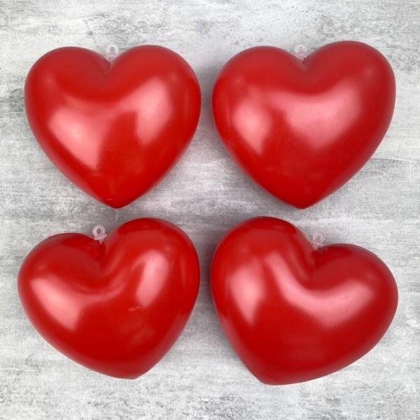 Lot de 4 Coeurs Rouge en plastique non séparables, 9,5 x 8 cm, avec accroches à suspendre, Déco roma - Photo n°1