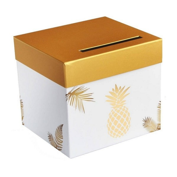 Urne Carrée Ananas doré métallique , carton rigide Blanc, 23 x 20,5 cm, tirelire Mariage - Photo n°1