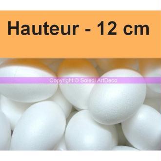 Lot de 10 Oeufs polystyrène plein de 12 cm de haut, densité supérieure