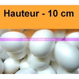 Lot de 10 Oeufs de 10 cm de haut en polystyrène blanc plein, densité supérieure