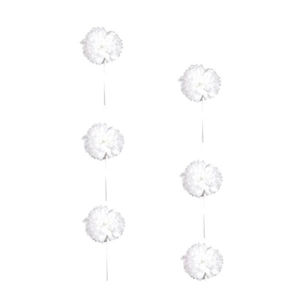 Guirlande de 3,5 m avec 6 fleurs pompons en papier de soie Blanc de diam 20 cm - Photo n°1