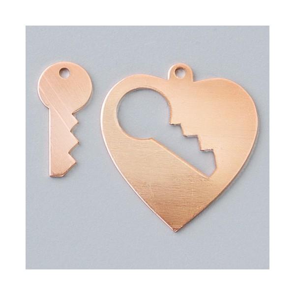 Lot de 10 Pendentifs en cuivre, Coeur avec clé 1 trou, 28 x 26 mm - Photo n°3