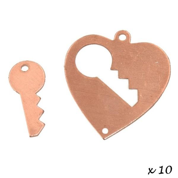 Lot de 10 Pendentifs en cuivre, Coeur avec clé 2 trou, 28 x 26 mm - Photo n°2