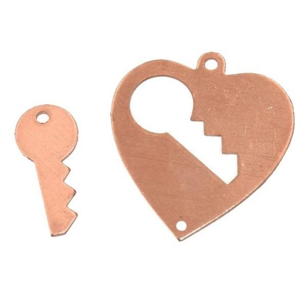 Lot de 10 Pendentifs en cuivre, Coeur avec clé 2 trou, 28 x 26 mm - Photo n°1